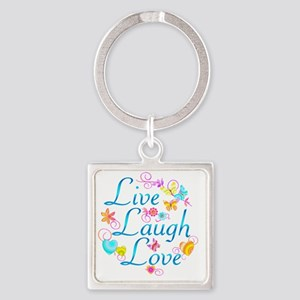 7-livelaugh Square Keychain