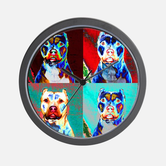 Pit Bull Terrier Pop Art Violet Wall Clock