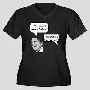 2-trillion_b Women's Plus Size Dark V-Neck T-Shirt