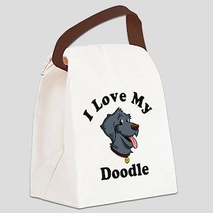 I-Love-My-Doodle-Black Canvas Lunch Bag
