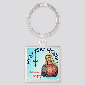 pray_mouse_blue_oval Square Keychain