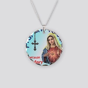 pray_mouse_blue_oval Necklace Circle Charm