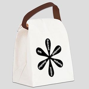 MamaFlowerBW Canvas Lunch Bag