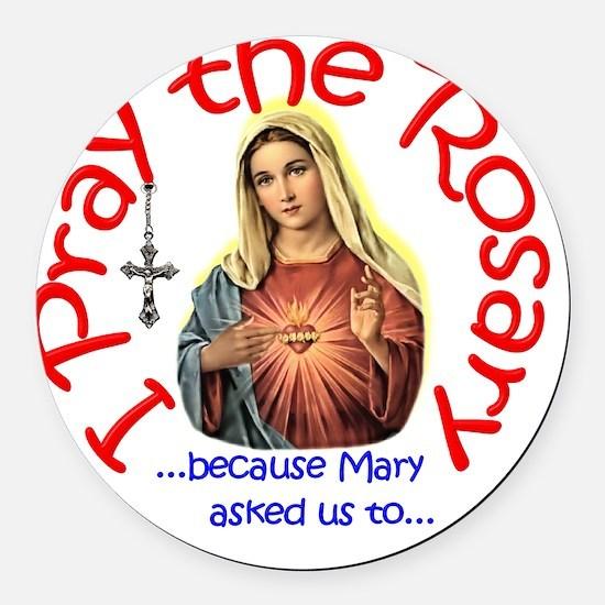 pray_button_6x6_white_slant Round Car Magnet