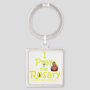 2-pray_10x10_yellow Square Keychain