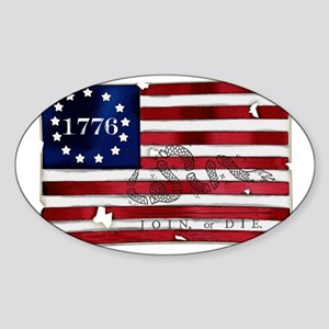 1776_american_flag_old copy Sticker (Oval)