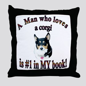 A Man who loves a corgi -Blk - Mist Throw Pillow