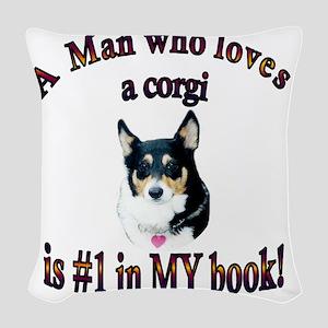 A Man who loves a corgi -Blk - Woven Throw Pillow