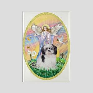 Angel Blessing a Shih Tzu (black  Rectangle Magnet