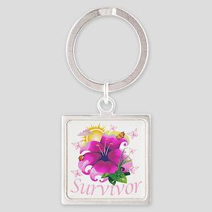 Survivor flower pink Square Keychain