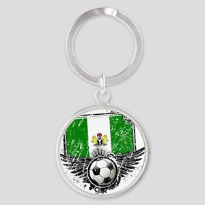 Soccer fan Nigeria Round Keychain