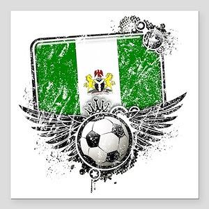 "Soccer fan Nigeria Square Car Magnet 3"" x 3"""