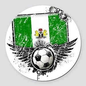 Soccer fan Nigeria Round Car Magnet