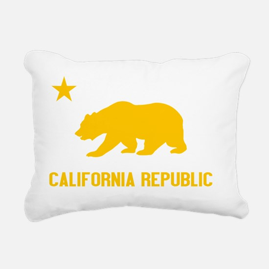 2-California Bear Yellow Rectangular Canvas Pillow