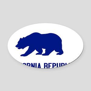 2-California Bear Blue Oval Car Magnet
