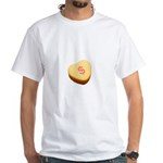 Dollar Symbol on a Candy Heart White T-Shirt