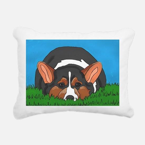 Tri Color corgi Rectangular Canvas Pillow