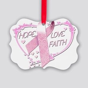 Hope Love Faith Heart (pink) Picture Ornament