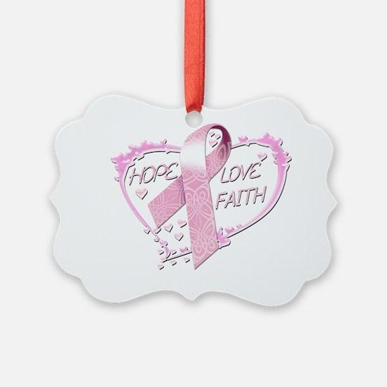 Hope Love Faith Heart (pink) Ornament