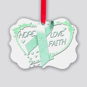 Hope Love Faith Heart (teal) Picture Ornament