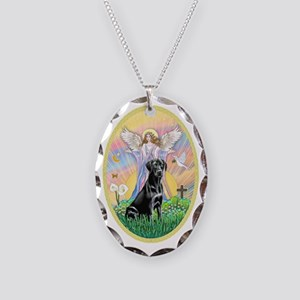 Blessing-Black Labrador Retrie Necklace Oval Charm