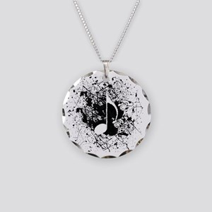 music white note splatter Necklace Circle Charm