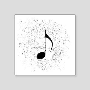 "music black note splatter c Square Sticker 3"" x 3"""