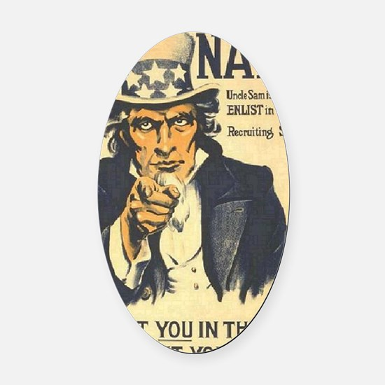 Americana  Recruiting Poster navy_ Oval Car Magnet