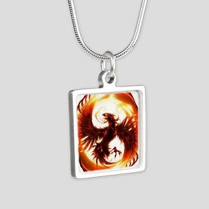 2-Phoenix spiral Silver Square Necklace