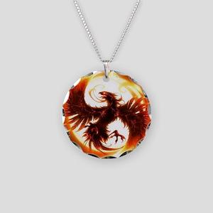 2-Phoenix spiral Necklace Circle Charm