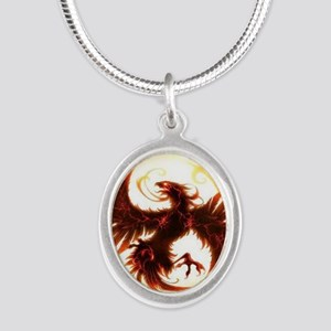 2-Phoenix spiral Silver Oval Necklace