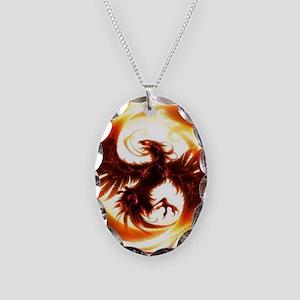 2-Phoenix spiral Necklace Oval Charm