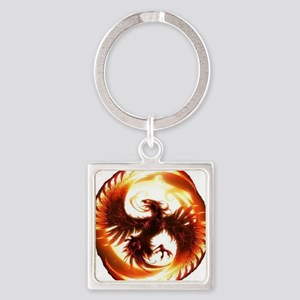 2-Phoenix spiral Square Keychain