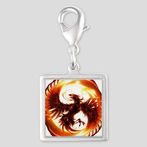 2-Phoenix spiral Silver Square Charm