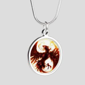 2-Phoenix spiral Silver Round Necklace