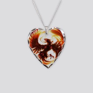 2-Phoenix spiral Necklace Heart Charm