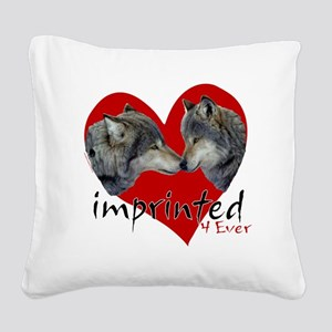 wolf-imprinted Square Canvas Pillow