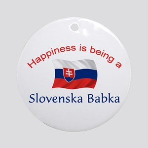 Happy Slovenska Babka Ornament (Round)