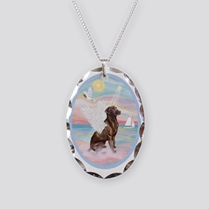 Heavenly Sea-Chocolate Labrado Necklace Oval Charm