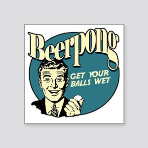 "Beer_Pong-01 Square Sticker 3"" x 3"""