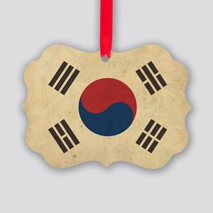 VintageKoreaFlag1 Picture Ornament
