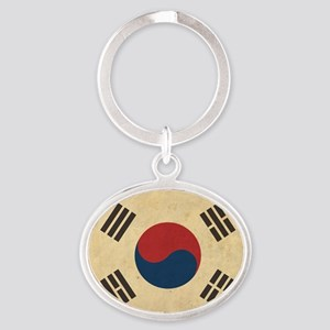 VintageKoreaFlag1 Oval Keychain