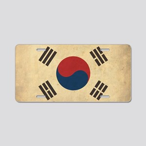 VintageKoreaFlag1 Aluminum License Plate