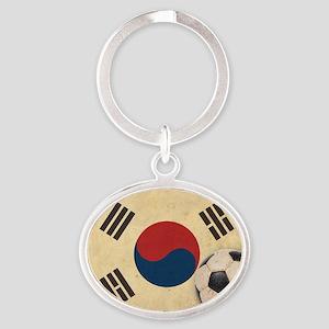 VintageKoreaFlag2 Oval Keychain