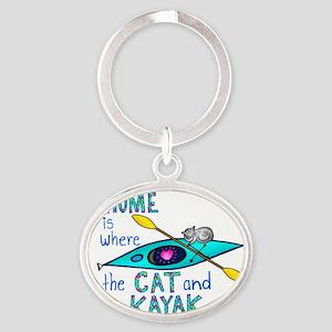 2-homekayakcatcolor2 Oval Keychain