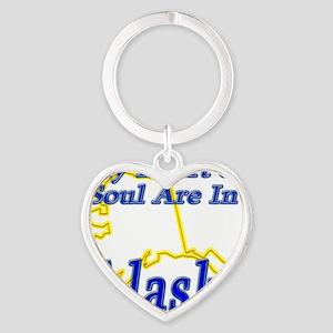 My Heart  Soul Are In Alaska Heart Keychain