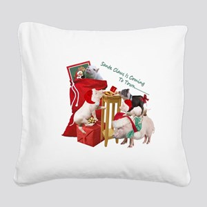 Pot Belly Pig Christmas Fun Time Square Canvas Pil
