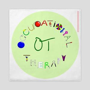 ot round green letters Queen Duvet