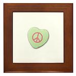 Peace Symbol on a Candy Heart Framed Tile