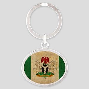 vintageNigeria3 Oval Keychain